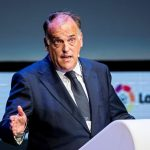 Mandatory Credit: Photo by RODRIGO JIMENENZ/EPA-EFE/REX/Shutterstock (9140156i) Javier Tebas World Football Summit (WFS) in Madrid, Spain - 17 Oct 2017 Javier Tebas, president of La Liga, the Spanish National Professional Football League, speaks on the second day of the World Football Summit (WFS) in Madrid, Spain, 17 October 2017. The World's biggest soccer industry congress runs from 16 to 17 October 2017.